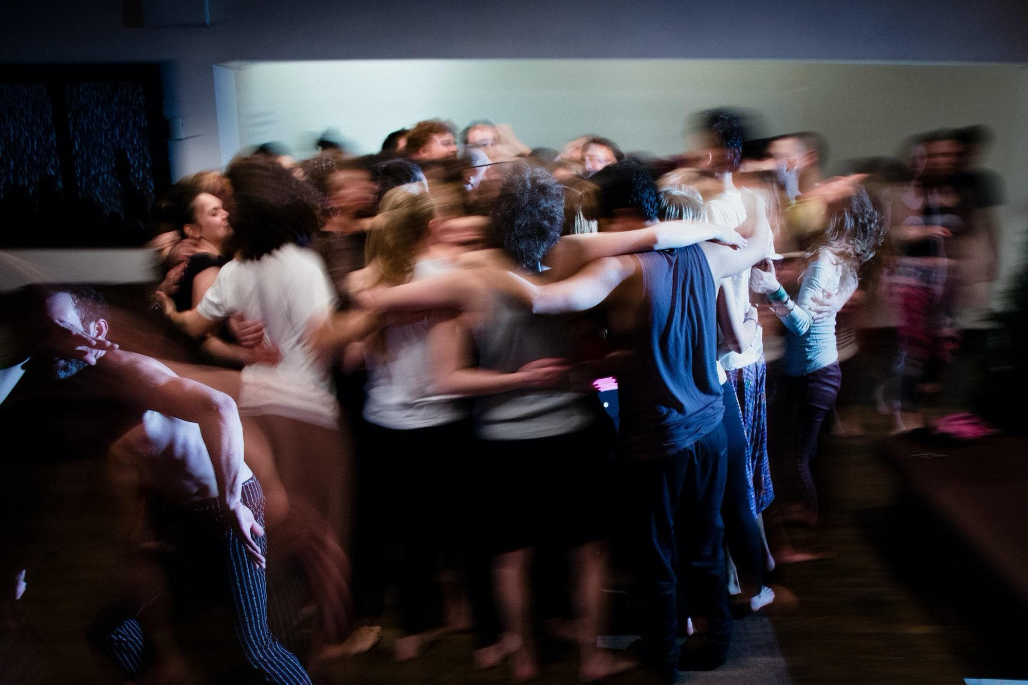 The dancers come together for a group embrace. Deidre Schoo for The New York Times